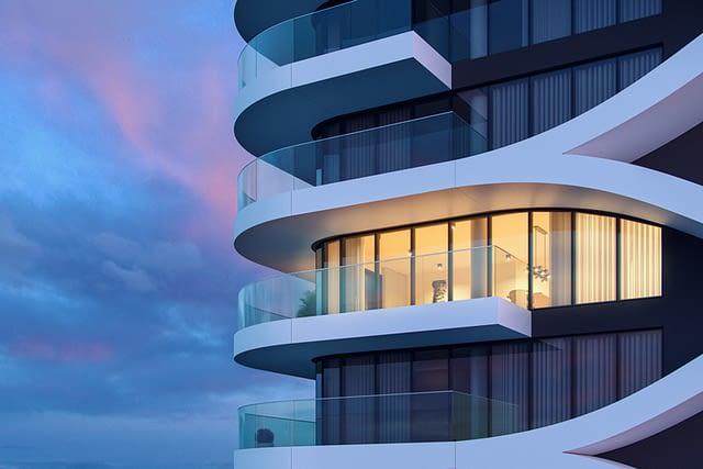 Fachadas edificio Varino 05, empreendimento futurístico na ilha da Madeira.